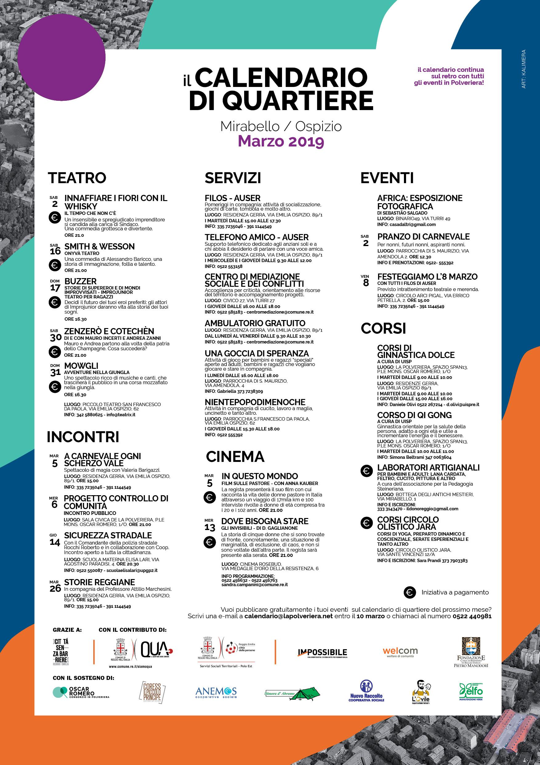 Calendario Eventi.Calendario Eventi Calendario Di Quartiere Marzo 2019